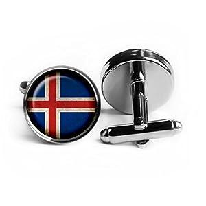 Iceland Icelandic Flag Island Isländische Flagge Rhodium Silber Manschettenknöpfe