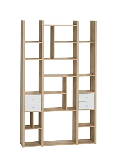 MAJA Raumteiler Wandregal Cableboard 6030 in Edelbuche 134x226x30cm Bücherregal Wohnwand - 3