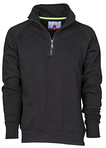 Felpa da lavoro maglia felpata cotone con mezza zip in tinta payper miami +, colore: nero, taglia: s