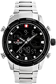 Naviforce Men's Black Dial Stainless Steel Analog Watch - NF9138S