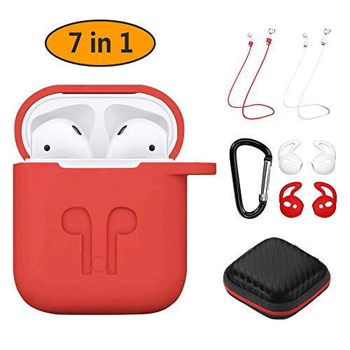 Cover Compatibile per Apple AirPods 1 & 2 (LED anteriore Non Visibile) Hianjoo Custodia Protettiva Antiurto Silicone, Accessori AirPods Custodia 7-in-1 per Apple AirPods - Rosso