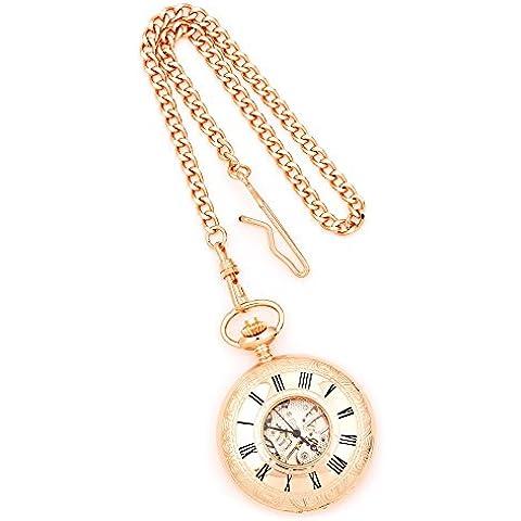 Charles Hubert Finitura Rosone Brass copertura Pocket Watch-Charles Hubert Rose Gold Finish Brass Window Cover Pocket Watch - Rose Rose Gold Pocket Watch
