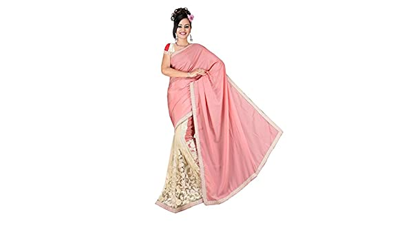 4799ec69f9 RD Crepe and Net Saree With Fancy Mirror Work Blouse: Amazon.in: Clothing &  Accessories