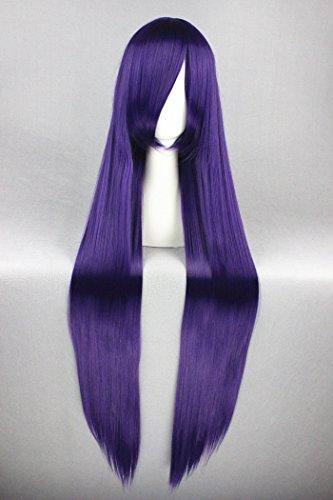 100cm Lang Center Teil gerade Perücken für Fate Zero/One Piece/EVA/Bleach Cosplay + Halloween Cosplay (lila Farbe) (Halloween-farben Lila)