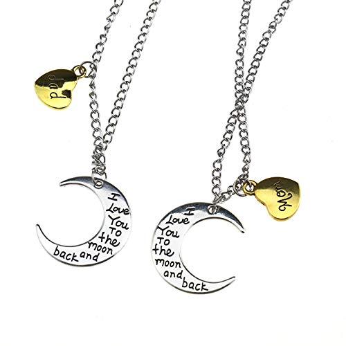 1x Familien-Halskette 68cm Silber Halbmond & Herz in Gold mit Beschriftung