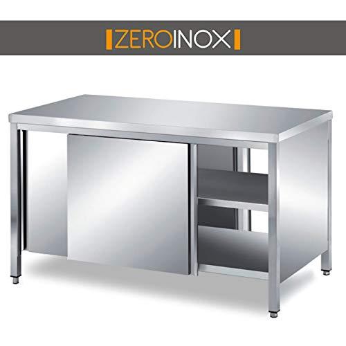 Abgeschrägte 2-tür (ZeroInox Tisch abgeschrägte Türen auf Zwei Seiten, 80 cm für Restaurant, Hotel)