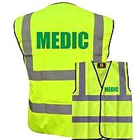 Medic Yellow Hi Vis Viz Safety Vest Waistcoat, Reflective High Visibility EN471 BS,