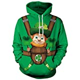 Lonshell Hommes Sweatshirt Vert Irlandais de St.Patrick's Day, Né Lucky 3D imprimé Chapeau Haut de Forme Vert pour Shamrock Sweat à Capuche Homme(M-2XL)