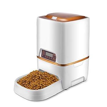 Pujuas Distributeur Automatique de Nourriture Distributeur de Croquettes Gamelle Enregistrement 4 Repas pour Chats et Chiens 4L (6L)