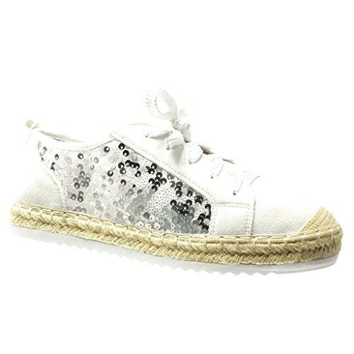f48b2992bf34a4 Sneaker Damen Espadrilles Seil Ferse 5 Sneaker Weiß Schuhe Schuh Fischnetz  Material Glitzer cm Angkorly 2 ...