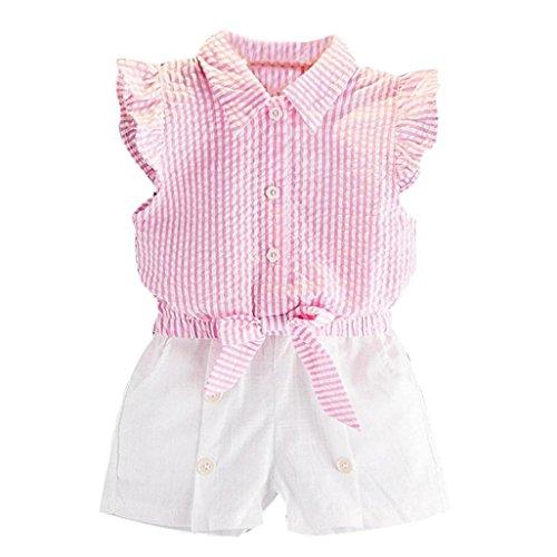 Hunpta Kleinkind Kids Baby Mädchen Streifen T Shirt Tops + Shorts Hosen Outfit Kleiderset (130CM, Rosa) (Mädchen 4 Top T-shirt)