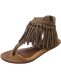 NiSeng Mujer Retro Flecos Sandalias T-Strap Clip Toe Peep Toe Sandalias Peep Toe Piso Sandalias