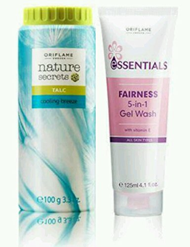 Oriflame Essential fairness 5 in 1 gel wash 125ml and cooling breeze talc 100g