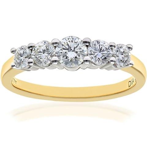 Naava Women's 18 ct Yellow Gold 5 stone Eternity Ring,