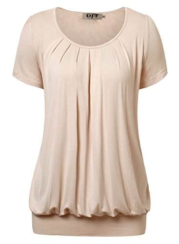 DJT Women's Casual Scoop Neck Pleated Front Short Sleeve Tunic Tops T-shirt
