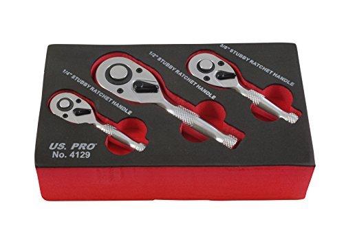 US PRO B4129 - Juego de 3 mini llaves de carraca cortas de 1/4 pulgadas 3/8 pulgadas 1/2 Stubby