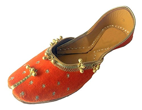N Step, Orange, Les Femmes Disent Khussa Punjabi Jutti Ghungroo Ethnique À La Main Mojari, Motif: Danseuse Orange