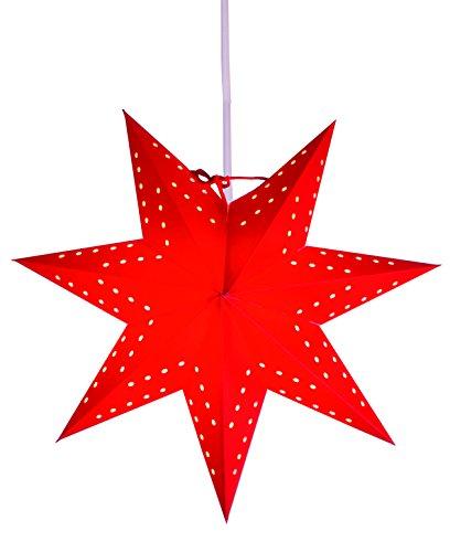 Kamaca Star - Light - schöner leuchtender Stern perfekt für Das Fenster und die Dekoration - Stern inklusive 3,50 Meter Elektrokabel mit Standard - E 14 -Fassung (Rot)