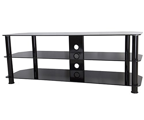 """Negro brillante cristal soporte de TV apto para televisores LCD LED 20–65""""TV unidad de gestión de Cable"""
