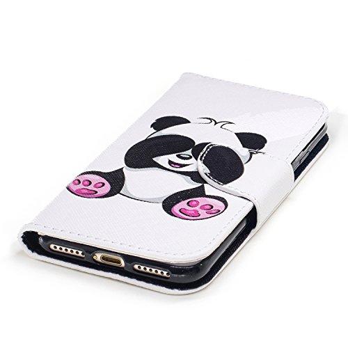 iPhone 7 Hülle, iphone 7 Case,Cozy Hut Case / Cover / Handyhülle für iPhone 7 Schutzhülle, Kunstleder Ledertasche Schutzhülle Case Tasche,Bunte Drucken Muster PU Leder Brieftasche Hülle Wallet Case Fl Giant Panda