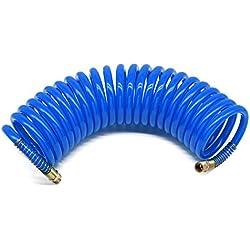 Tuyau spiralé pour air comprimé longueur 6 m, diamètre intérieur 6,5 mm x diamètre extérieur 10 mm, pression de travail 10 bar, en polyuréthane