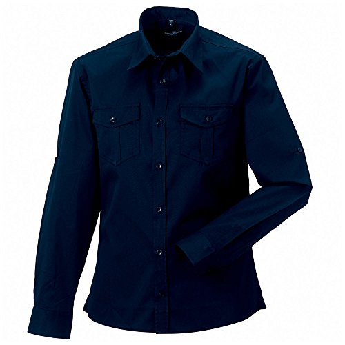 Russell Collection Mens Fit Roll-Sleeve Smart Cotton Work Shirt Long Sleeve French Navy