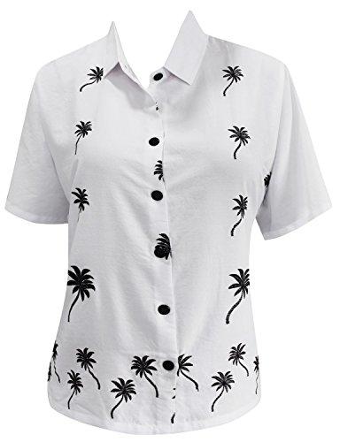 La Leela Frauen Rayon Bestickt Bademoden Casual-Taste Nach Unten Bluse Kurzarm-Shirt Weiß l (Damen Shirt Taste Nach Unten)