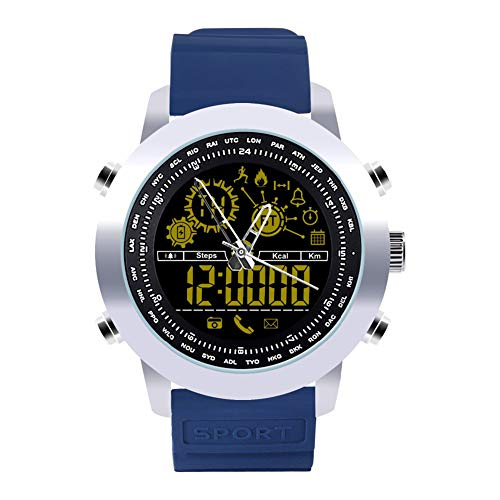 Muzhili3 DX18 Hintergrundbeleuchtung Wasserdichte Runde Analoge Pedometer Bluetooth Smart Watch Armband Blue