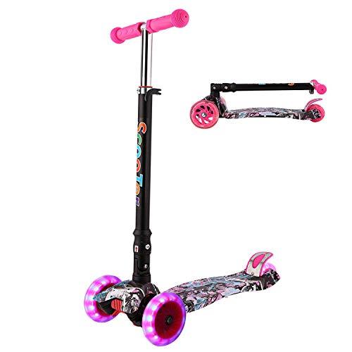 WeSkate Kinder Scooter Kinderroller Junge Mädchen höhenverstellbarer und Abnehmbarer Lenker Tret-Roller mit 4-PU Rollen Scooter Kinder ab 3 Jahren
