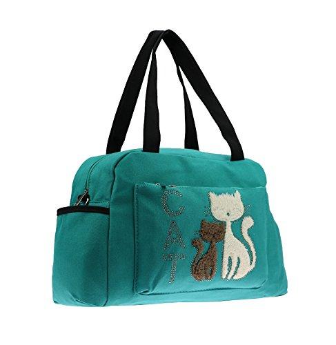 Borsa per le donne Canvas Cute Cartoon Cat Tote Bag Borse Crossbody Multi-Function impermeabile Zaino da viaggio Borse per pannolini per la cura del bambino Grande capacità Verde