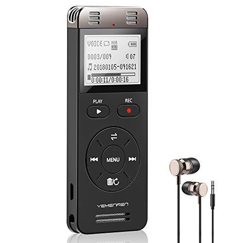Digitales Diktiergerät, YEMENREN 8GB Digitaler Voice Recorder, Audio Aufnahmegerät mit Spracherkennung für Interviews Meetings, USB, Wiederaufladbar(Schwarz)