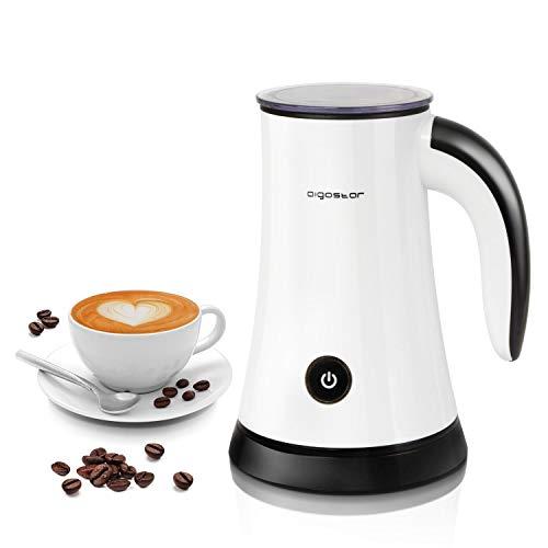 Aigostar 30KDF - Espumador de leche electrico, 3 Modos espumo frío/Caliente y Calentar, Recubrimiento Antiadherente, Espuma Rica para Café, Latte, Cappuccino, 450W, Libre de BPA.