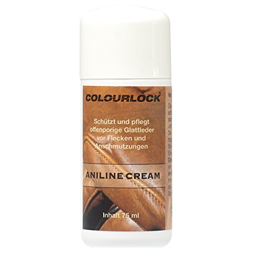Colourlock in pelle anilina care Cream mantenere, per proteggere e impermeabile, anilina, cerato oleoso o pull up leathers sui mobili, suite divani, poltrone, giacche, borse, scarpe e vestiti, plastica, White bottle with cream/brown label, 75 ml