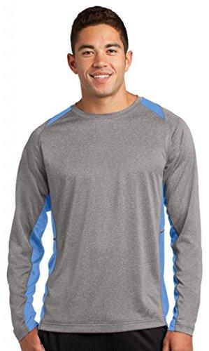 Sport Tek LS Colorblock Contender T-Shirt Vintage Heather/ Carolina Blue