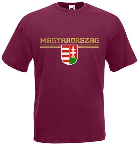 Ungarn Magyarország T-Shirt Fanshirt Burgund