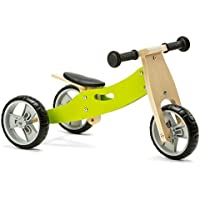 Nicko Mini 2 in 1 Wooden Balance Bike Toddler Trike Green 18 months +
