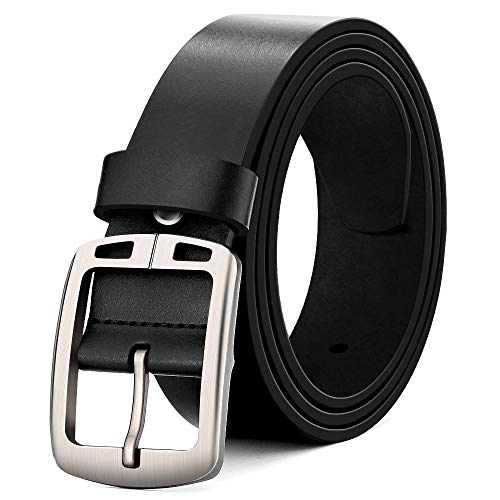 MUCO Brown black leather belt Men Buckle Durable Leather Belt Suitable for suit jeans For men