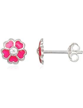 JAYARE Kinder-Ohrstecker Blume Blüte 925 Sterling Silber Emaille Glitzer-Kristalle 7 x 7 mm rosa pink Ohrringe