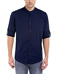 Dennis Lingo Men's Solid Casual Full Sleeves Navy Blue Cotton Shirt