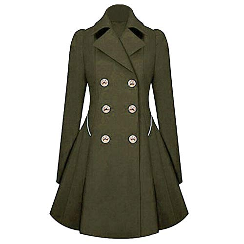 iHENGH Vorweihnachtliche Karnevalsaktion Damen Herbst Winter Bequem Mantel Lässig Mode Jacke Frauen Winter warme Damen Revers stilvolle Lange Parka Mantel Trench Outwear Jacke