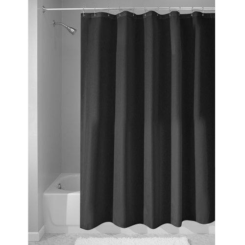 Interdesign Stoff wasserdicht Duschvorhang Liner, schwarz, 54-Inch by 78-Inch (Schwarzer Duschvorhang 78 In)