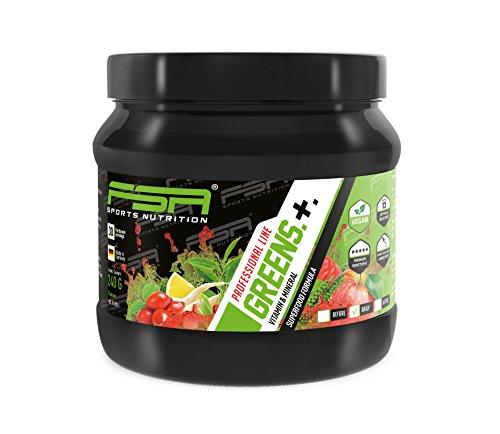 Enthält Antioxidans (Greens Pulver vegan der deutschen Profisport Marke FSA Nutrition® | Mikronährstoffe - Vitamine & Mineralien | Superfood u.a. mit Gerstengras, Spirulina, Acerola und Astaxanthin | 240g)