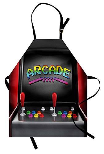 Videospiele Schürze, Arcade-Maschine Retro-Gaming-Spaß-Joystick-Tasten Vintage 80er 90er Jahre elektronische, Unisex-Küche Latzschürze mit verstellbarem Hals zum Kochen Backen Gartenarbeit, ()