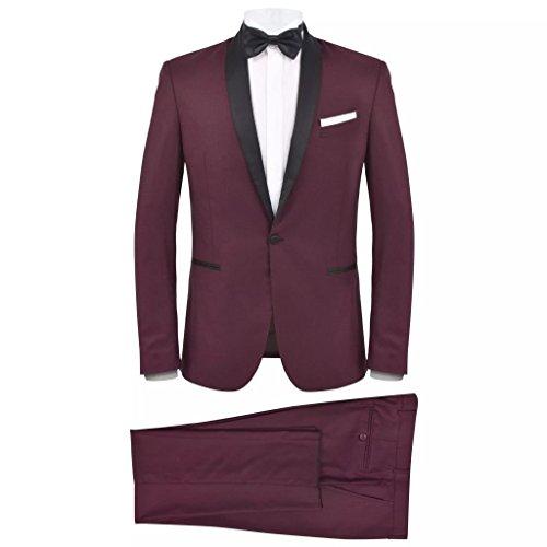 vidaXL 2X Smoking de Soirée pour Homme 46 Bordeaux Costume Tuxedo Costard