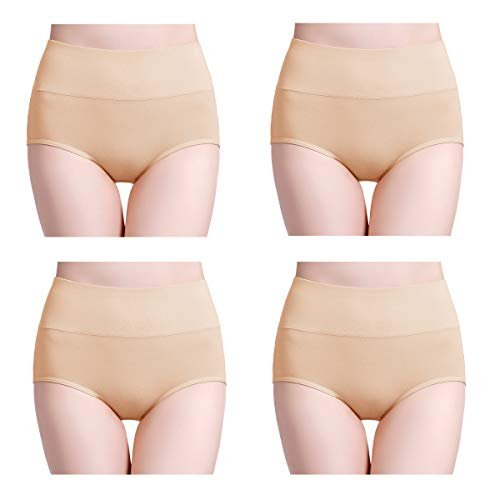 wirarpa Damen Unterhosen 4er Pack Panties Slips Damen Unterwäsche mit Hoher Taille Ultra Weich Taillenslip Hautfarbe Größe M