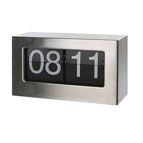 Casablanca - Uhr Flip Edelstahl gebürstet 24 Stunden Flip Display Betrieb mit 2 Babyzellen (Typ C) zum Hängen und Stellen Flip-typ