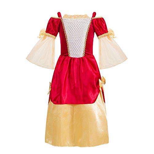 Katara 1763-128/134 - Kinder Mädchen-Kostüm Burgfräulein Kleid - Mittelalter Verkleidung Prinzessin Königin Geschenk zu Karneval, Fasching, Ritterfest - 128/134, Rot-Gold