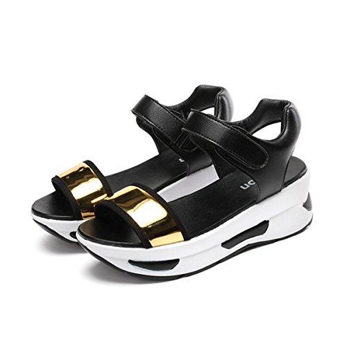Damen Sandalen Plateau Offen Spiegelleder Einfach Schnalle mit Luftpolster Weich Rutschhemmend Bequem Schuhe Gold