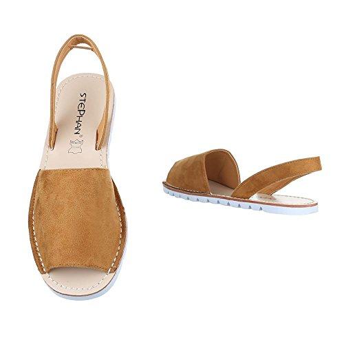 Komfortsandalen Damen Schuhe Römersandalen Leichte Ital-Design Sandalen / Sandaletten Camel