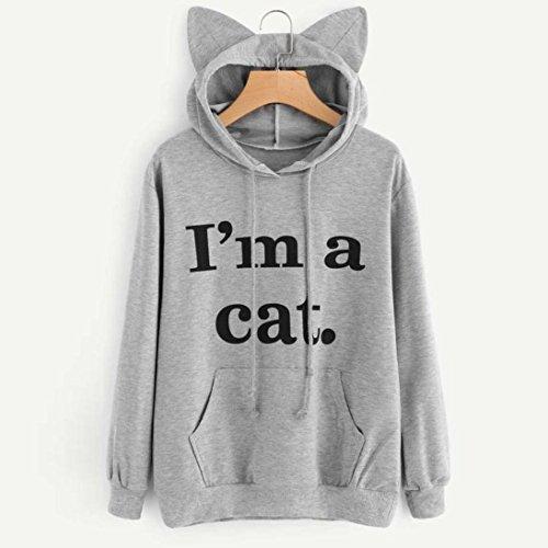 Oyedens cat. Sweat à Capuche Femmes Manche Longue Chat Sweat-shirt Tops Sweater Femme Tops Encapuchonné Chemisiers Pull Sweats De Hoodie Gris